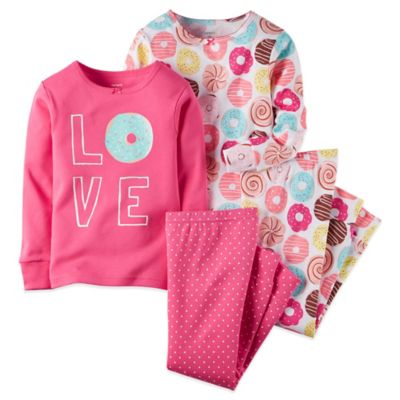 """Carter's® 4-Piece Size 12M Donut """"Love"""" Long-Sleeve Pajama Set in Pink"""