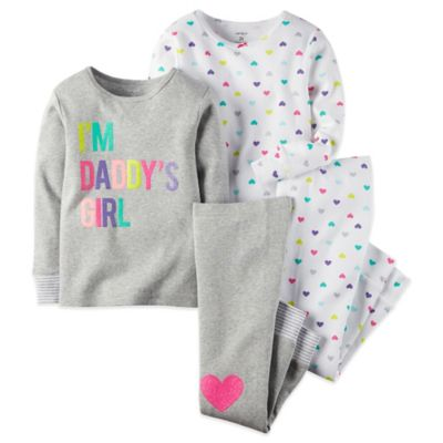 "Carter's® 4-Piece Size 12M ""I'm Daddy's Girl"" Long Sleeve Pajama Set in Grey"