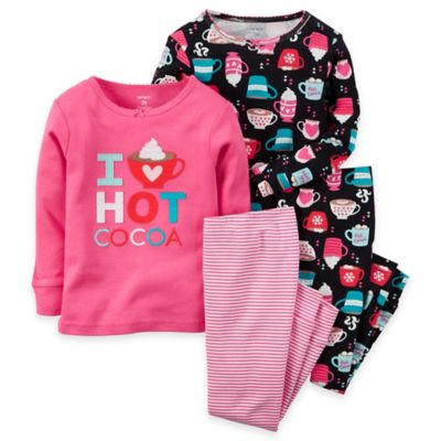 carter's® Size 18M 4-Piece Hot Cocoa Long-Sleeve Pajama Set in Pink