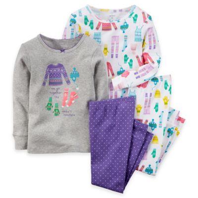 carter's® Size 12M 4-Piece Long-Sleeve Winterwear Pajama Set in Grey
