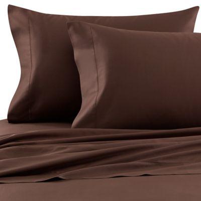 Bellino™ Raso Egyptian Cotton Queen Flat Sheet in Chocolate