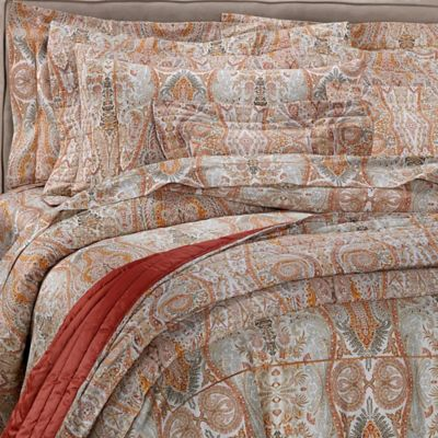 Bellino Fine Linens® Paisley Queen Coverlet in Orange