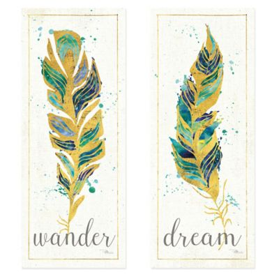 Water Feathers I Art Work (Set of 2)