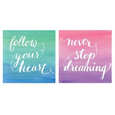 Follow Your Heart Inspirational Wall Art (Set of 2)