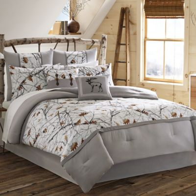 True Timber Snowfall 4-Piece King Comforter Set in White