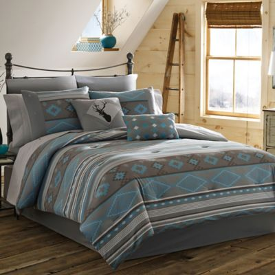 True Timber Southwest 4-Piece Reversible Full Comforter Set in Teal