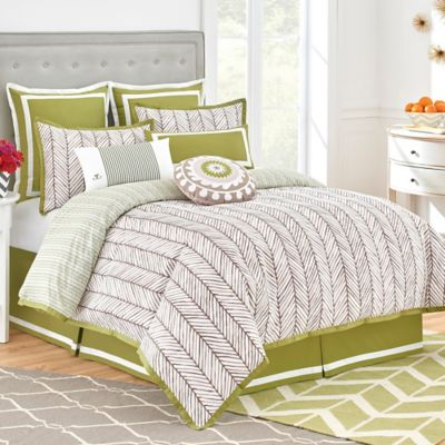 Jill Rosenwald Arrows Twin Bed Skirt in Olive