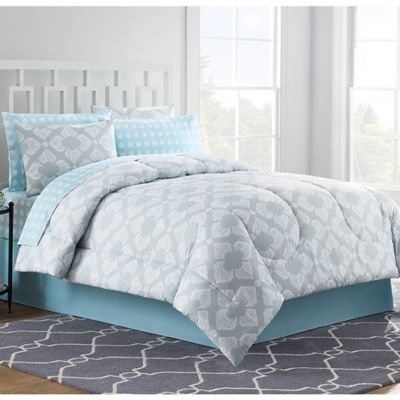 Grey and Blue Comforter Set