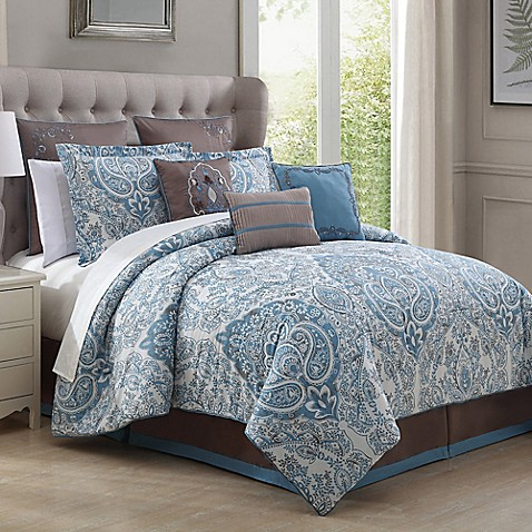 donatella 9 piece comforter set in light blue bed bath. Black Bedroom Furniture Sets. Home Design Ideas