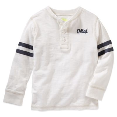 OshKosh B'gosh® Size 2T Jersey-Style Long-Sleeve Shirt in White/Navy