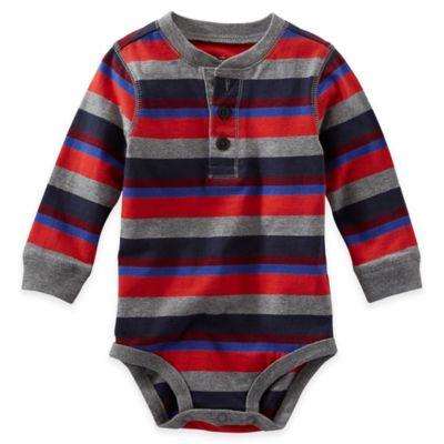 OshKosh B'gosh® Size 3M Striped Long-Sleeve Bodysuit in Red/Grey