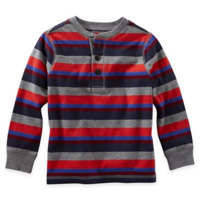 OshKosh B'gosh® Size 2T Striped Long-Sleeve Shirt in Red/Grey