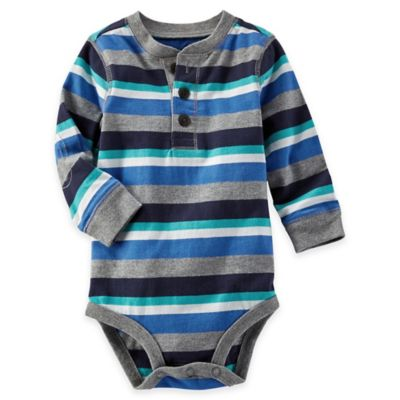 OshKosh B'gosh® Size 3M Striped Long-Sleeve Bodysuit in Blue/Grey