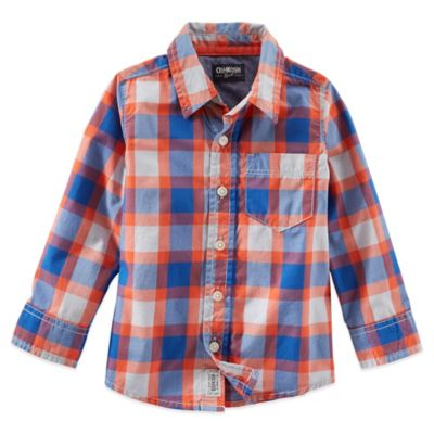 OshKosh B'gosh® Size 3T Button Front Long-Sleeve Plaid Shirt in Orange