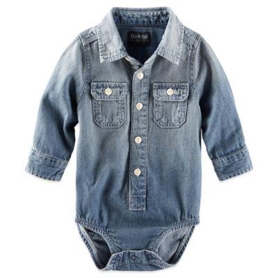 OshKosh B'gosh® Size 6M Button-Front Long-Sleeve Chambray Bodysuit in Blue