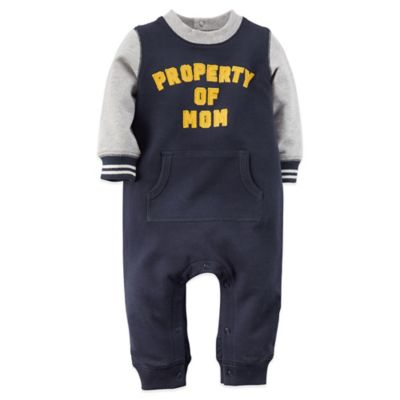 "Carter's® Size 12M ""Property of Mom"" French Terry Long Sleeve Romper in Navy/Grey"