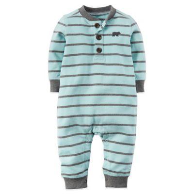 Carter's® Size 3M Striped Bear Long Sleeve Romper in Mint/Grey