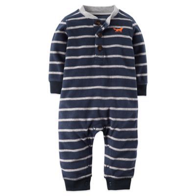 Carter's® Size 9M Striped Fleece Fox Long Sleeve Romper in Navy/Grey