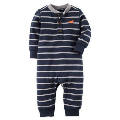 Carter's® Size 12M Striped Fox Long Sleeve Romper in Navy/Grey
