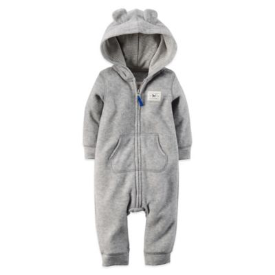Carter's® Size 3M Long-Sleeve Hooded Fox Romper in Grey