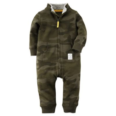 "Carter's® Size 18M Zip-Front ""Trail Blazer"" Camo Long Sleeve Romper in Green"