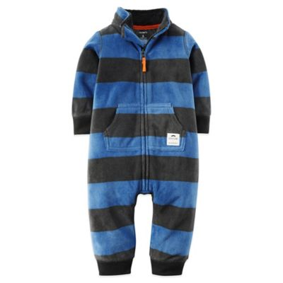 Carter's® Size 12M Long-Sleeve Rugby Stripe Romper in Blue/Grey