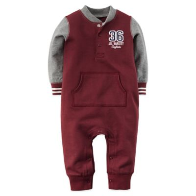 Carter's® Size 9M Long-Sleeve French Terry Romper in Burgundy