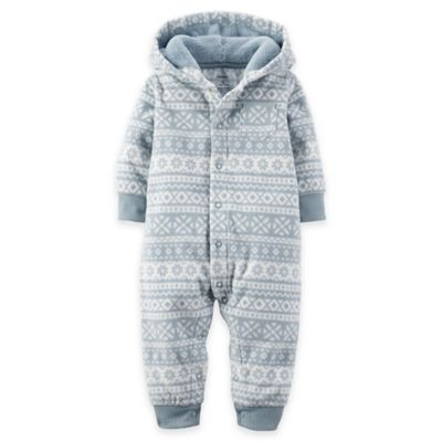 Carter's® Newborn Fair Isle Hooded Fleece Jumpsuit in Grey