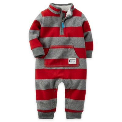 Carter's® Newborn Rugby Stripe Fleece Jumpsuit in Red/Grey