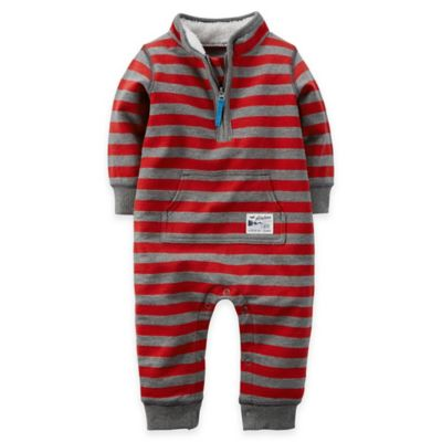 Carter's® Size 18M Rugby Stripe French Terry Jumpsuit in Red/Grey