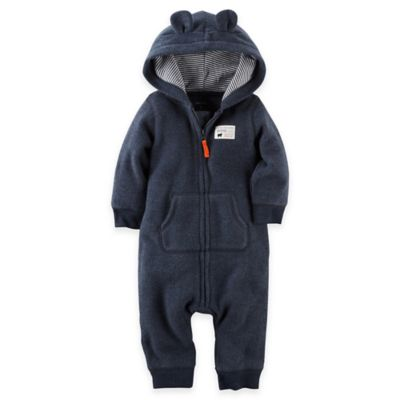 Carter's® Size 18M Baby Bear Hooded Fleece Jumpsuit in Charcoal