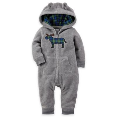 Carter's® Size 3M Moose Hooded Fleece Romper in Grey