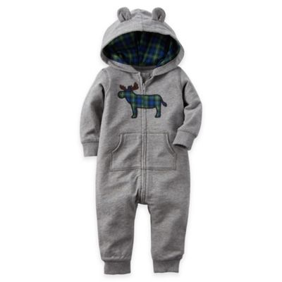 Carter's® Size 18M Moose Hooded French Terry Jumpsuit in Grey