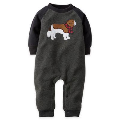 Carter's® Newborn Dog Raglan Fleece Jumpsuit in Grey