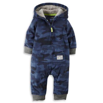 carter's® Size 3M Hooded Fleece Jumpsuit in Camo