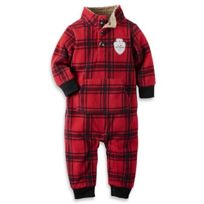 carter's® Size 18M Buffalo Plaid Mock-Neck Fleece Jumpsuit in Red