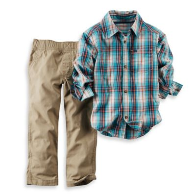 Carter's® Size 2T 2-Piece Plaid Shirt and Pant Set in Blue