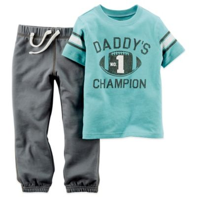 Carter's® Size 3M 2-Piece Daddy's Champion Short-Sleeve Shirt and Pant Set