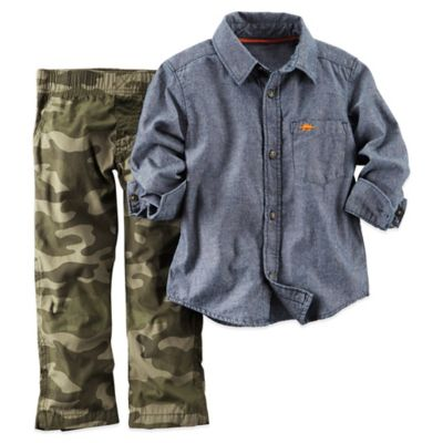 Carter's® 9M 2-Piece Shirt and Pant Set in Camo/Chambray