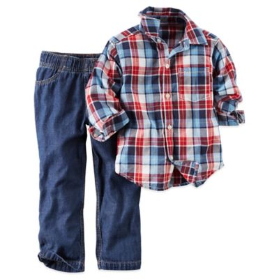 Carter's® Size 3T 2-Piece Plaid Shirt and Denim Pant Set in Blue/Red