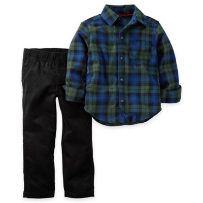 Carter's® Size 3M 2-Piece Flannel Shirt and Pant Set in Navy