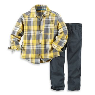 carter's® Size 3M 2-Piece Flannel Shirt and Pant Set in Yellow