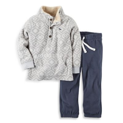 carter's® Size 12M 2-Piece Fleece Pullover and Pant Set in Grey