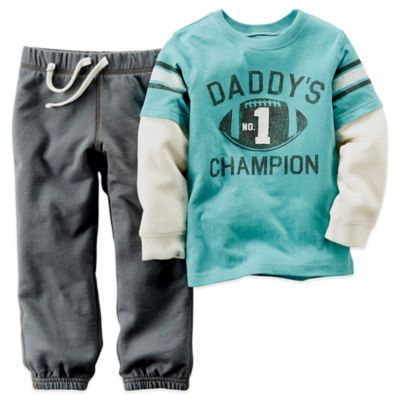 "Carter's® Size 3M 2-Piece ""Daddy's No. 1 Champion"" Shirt and Pant Set in Blue/Grey"