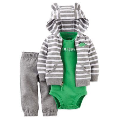 "Carter's® Size 3M 3-Piece ""Tough Like Daddy"" French Terry Hoodie, Bodysuit, and Pant Set"