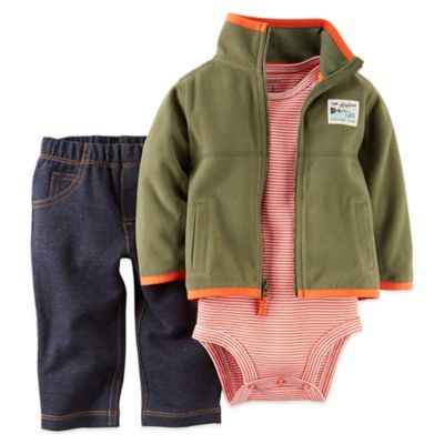 "Carter's® Newborn 3-Piece ""Airplane"" Fleece Jacket, Bodysuit, and Pant Set in Olive"