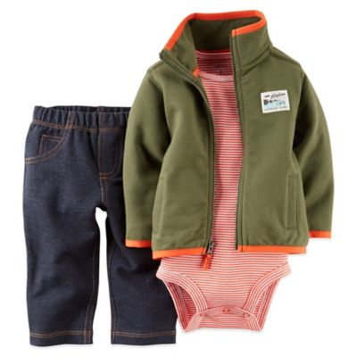 "Carter's® Size 3M 3-Piece ""Airplane"" French Terry Jacket, Bodysuit, and Pant Set"