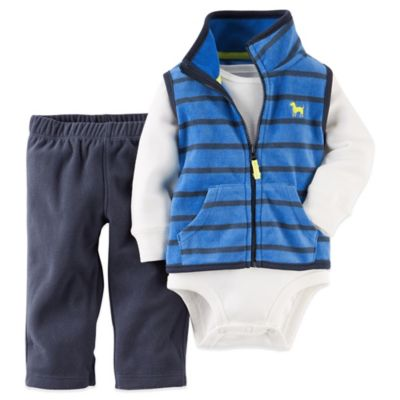 Carter's® Size 3M 3-Piece Striped Fleece Vest, Bodysuit, and Pant Set in Blue