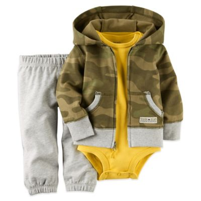 "Carter's® Size 12M 3-Piece ""Tough Gear"" Hoodie, Bodysuit, and Pant Set in Camouflage"