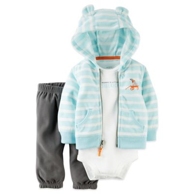 "Carter's® Size 3M 3-Piece ""Little Sidekick"" Fleece Hoodie, Bodysuit, and Pant Set in Blue"